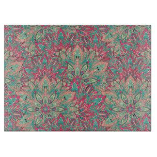 Pink and Teal mandala pattern. Cutting Board