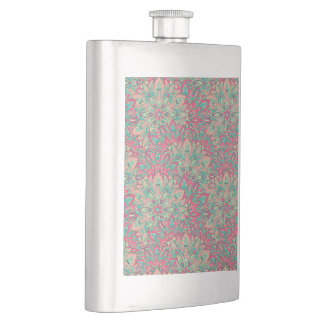 Pink and Teal mandala pattern. Hip Flask