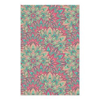 Pink and Teal mandala pattern. Stationery