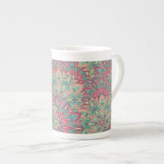 Pink and Teal mandala pattern. Tea Cup