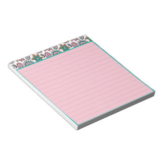 Pink and teal paisley notepad