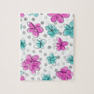 Pink and Teal Watercolor Flower Polka Dot Puzzle