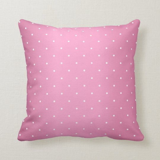 Pink and Tiny White Polka Dots Throw Pillow
