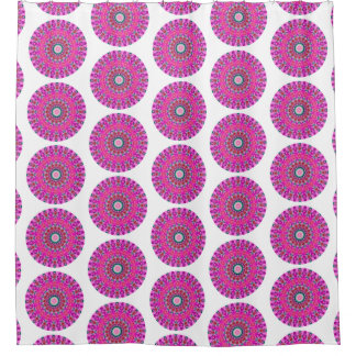 Pink and Turquoise Boho Round Mandala (Lg Print) Shower Curtain