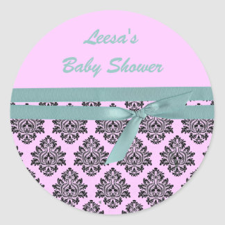 pink and turquoise damask baby shower stickers