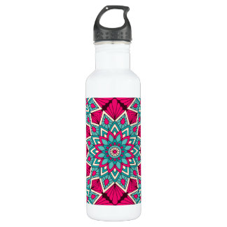 Pink and turquoise floral mandala pattern 710 ml water bottle