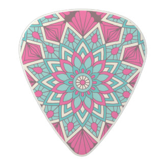 Pink and turquoise floral mandala pattern acetal guitar pick