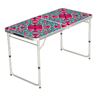 Pink and turquoise floral mandala pattern beer pong table