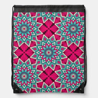Pink and turquoise floral mandala pattern drawstring bag