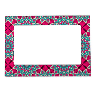 Pink and turquoise floral mandala pattern magnetic frame