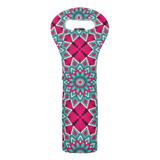Pink and turquoise floral mandala pattern wine bag