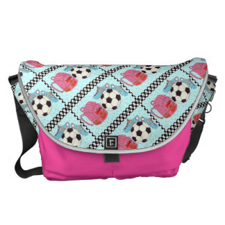 Pink and Turquoise Girls Soccer Courier Bags