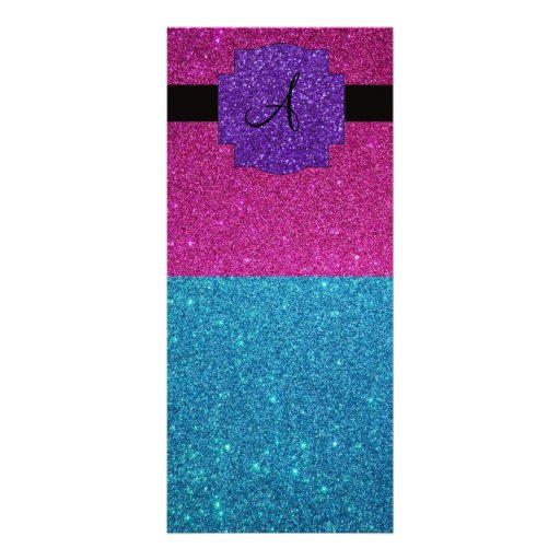 Pink and turquoise glitter monogram custom rack cards
