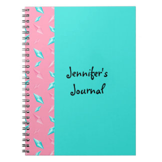 Pink and Turquoise Long Sparkling Gems Notebook