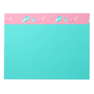 Pink and Turquoise Long Sparkling Gems Notepad