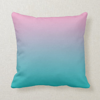 """""""Pink And Turquoise Ombre"""" Throw Pillow"""