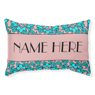 Pink And Turquoise Paisley Pet's Name Pet Bed