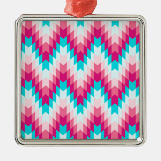 Pink and Turquoise Tribal Chevron Silver-Colored Square Decoration
