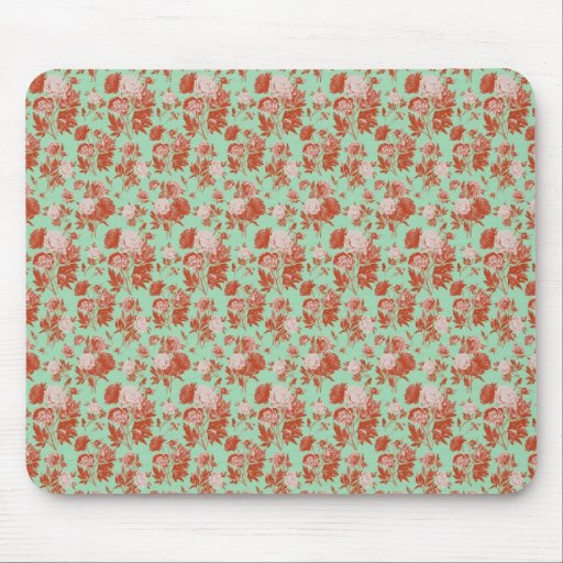 Pink and Turquoise Vintage Floral Mouse Pads