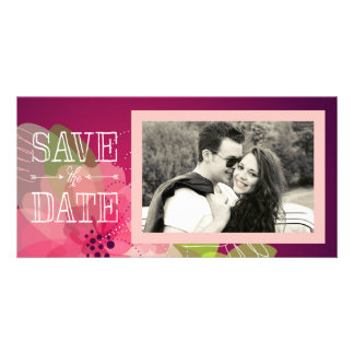 Pink and Violet Floral Save the Date Customized Photo Card