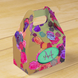 Pink and Violet Roses in a Random Pattern Favour Box