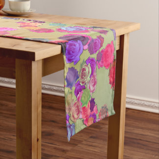 Pink and Violet Roses in a Random Pattern Short Table Runner