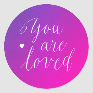 Pink and Violet You Are Loved Stickers