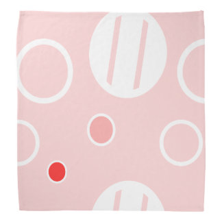Pink and White Abstract Circle Pattern Bandana