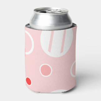 Pink and White Abstract Circle Pattern Can Cooler
