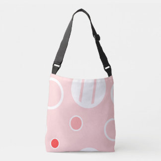 Pink and White Abstract Circle Pattern Crossbody Bag