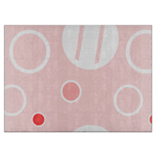 Pink and White Abstract Circle Pattern Cutting Board