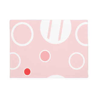 Pink and White Abstract Circle Pattern Doormat