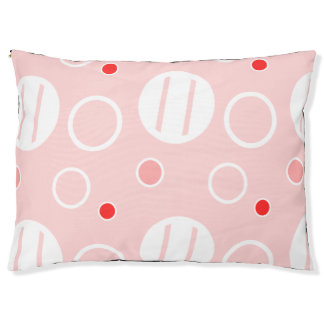 Pink and White Abstract Circle Pattern Pet Bed
