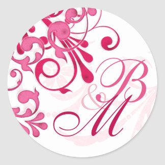 Pink and White Abstract Floral Envelope Seal Round Stickers