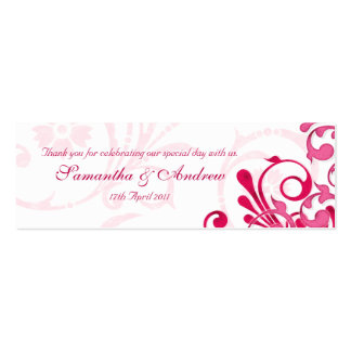 Pink and White Abstract Floral Favour Tags Pack Of Skinny Business Cards