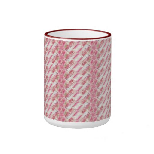 Pink and White Abstract Floral Print Mug