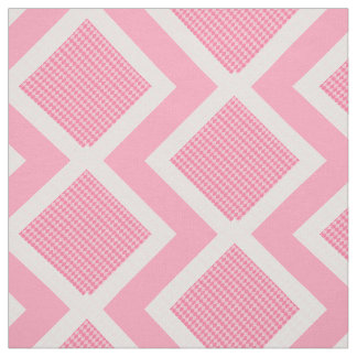 Pink and White Argyle Print Chevron Fabric