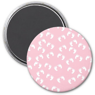 Pink and White Baby Feet - Baby Shower Print 7.5 Cm Round Magnet