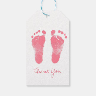 Pink and White Baby Footprints