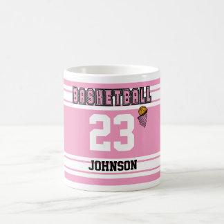 Pink and White Basketball Basic White Mug