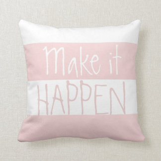 Pink And White Big Striped Pattern Quote Throw Pillow
