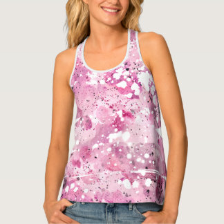 Pink and White Bleached Out Look Tank Top