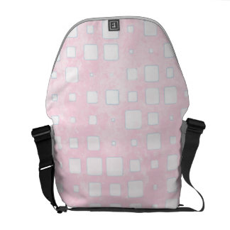 Pink and White Block Pattern Messenger Bags