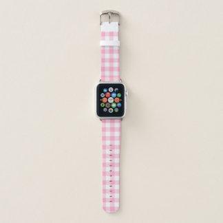 Pink and White Buffalo Check Apple Watch Band