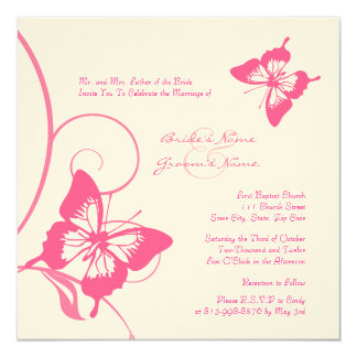Pink and White Butterfly Wedding Invitation