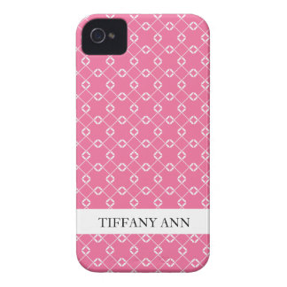 Pink and White Cage Vines Pattern Case-Mate iPhone 4 Cases