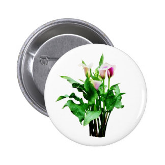 Pink and White Calla Lilies Buttons