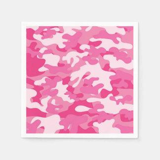 Pink and White Camo Design Disposable Serviette