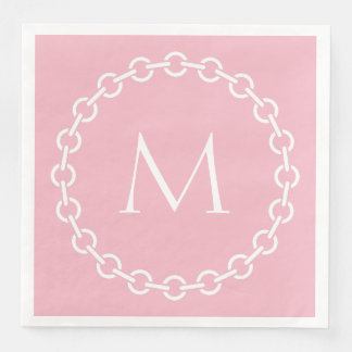Pink and White Chain Link Ring Circle Monogram Disposable Napkin