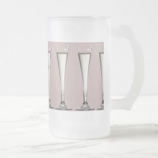 Pink and White Champagne Glass Flutes Frosted Glass Beer Mug
